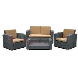Мебели градински сиви с възглавници кафеви 4 части