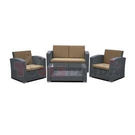 Мебели градински тъмно сиви с възглавници кафеви 4 части