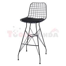 Бар стол метален мрежа с възглавница черен