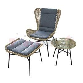 Маса с кресло и кушетка балконски комплект 3 части