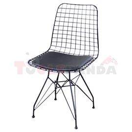 Стол метален мрежа с възглавница черен