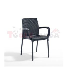 Стол градински с подлакътник антрацит Sunset rattan 57х57х84см.