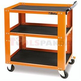 C51-O - Количка метална оранжева празна (800x450x900мм) за инструменти с 3 открити рафта с гумено покритие