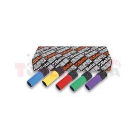 """720 LC/S5 - К-т вложки ударни шестостен на 1/2"""" с цветно тефлоново покритие (5 бр) в пластмасова кутия"""